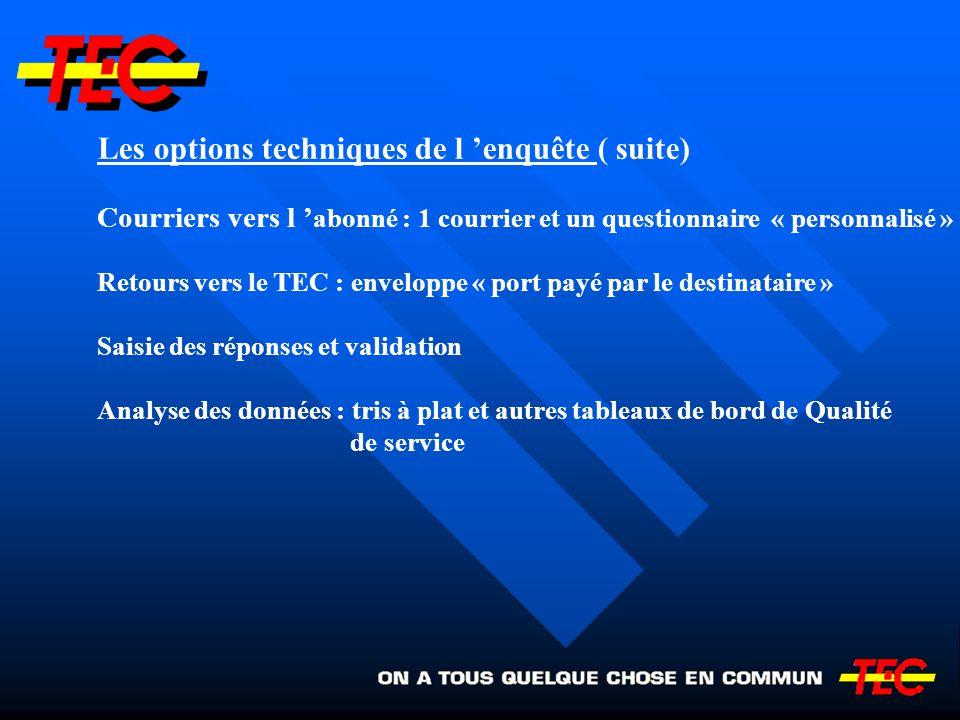 Les options techniques de l enquête ( suite) Courriers vers l abonné : 1 courrier et un questionnaire « personnalisé » Retours vers le TEC : enveloppe