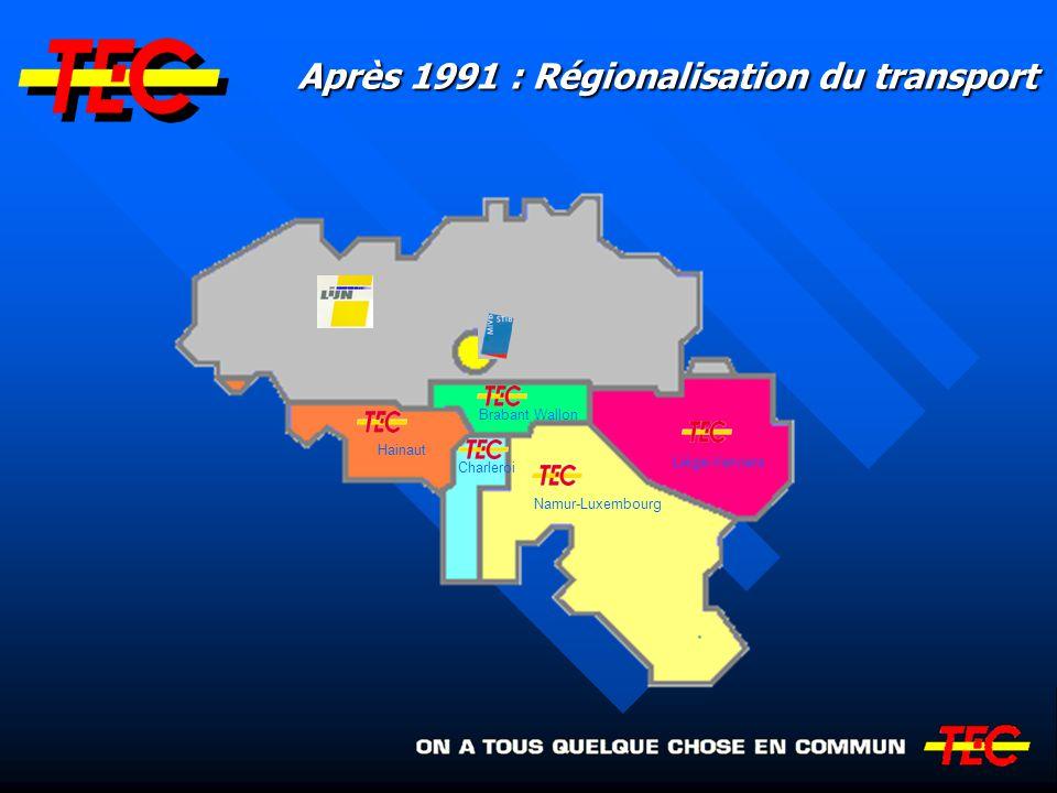 Organisation du transport en Wallonie SOCIETE REGIONALE WALLONNE DU TRANSPORT (SRWT) MINISTERE DE L EQUIPEMENT ET DES TRANSPORTS TEC HAINAUT TEC CHARLEROI TEC BRABANT WALLON TEC NAMUR- LUXEMBOURG TEC LIEGE- VERVIERS GOUVERNEMENT REGIONAL