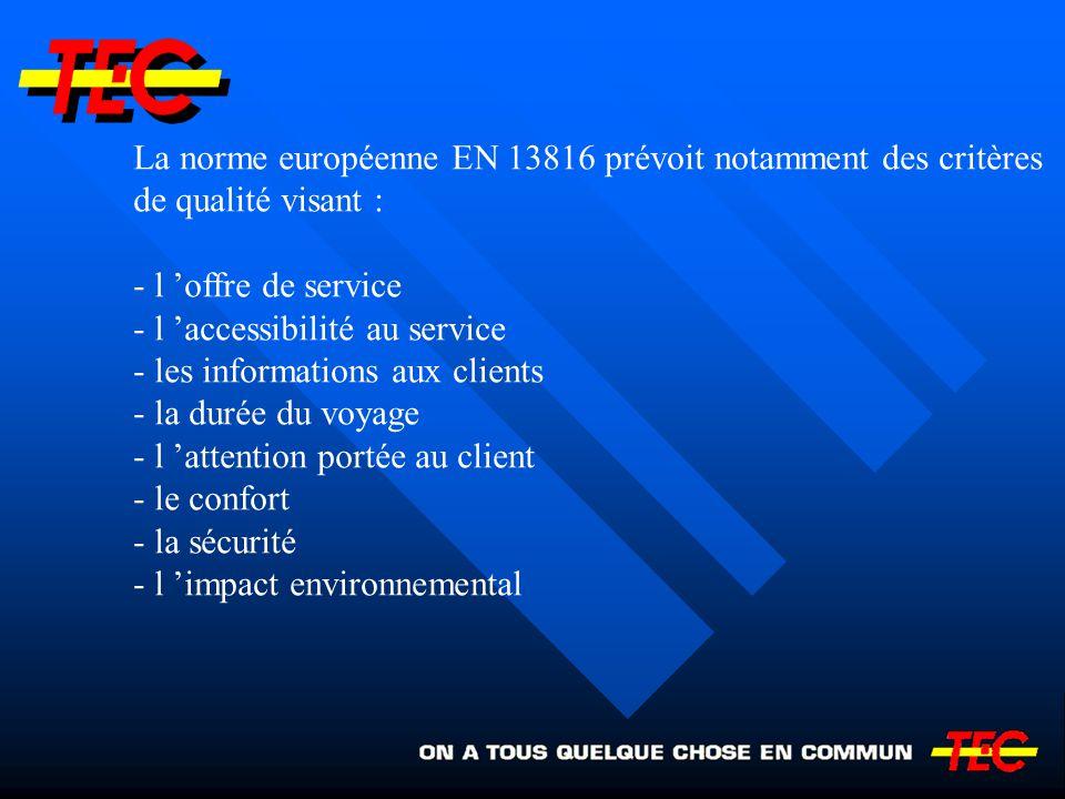 La norme européenne EN 13816 prévoit notamment des critères de qualité visant : - l offre de service - l accessibilité au service - les informations a