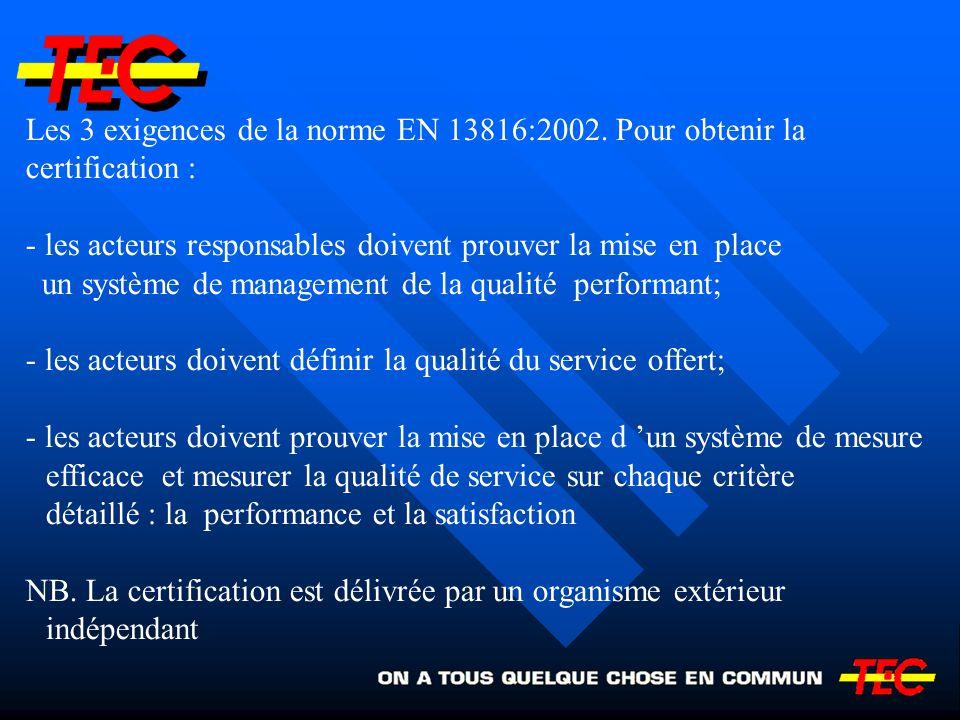 Les 3 exigences de la norme EN 13816:2002. Pour obtenir la certification : - les acteurs responsables doivent prouver la mise en place un système de m