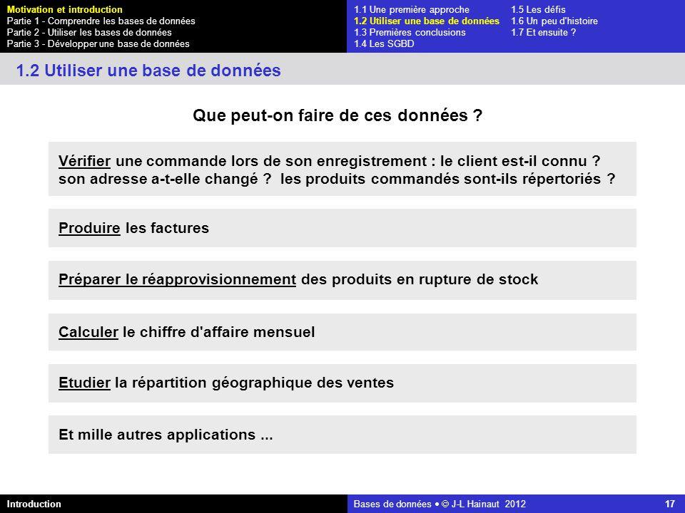 azerty Bases de données J-L Hainaut 2012 17 Que peut-on faire de ces données ? 1.2 Utiliser une base de données Vérifier une commande lors de son enre