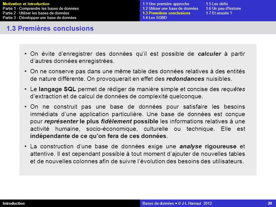 azerty Bases de données J-L Hainaut 2012 20 On évite denregistrer des données quil est possible de calculer à partir dautres données enregistrées. On