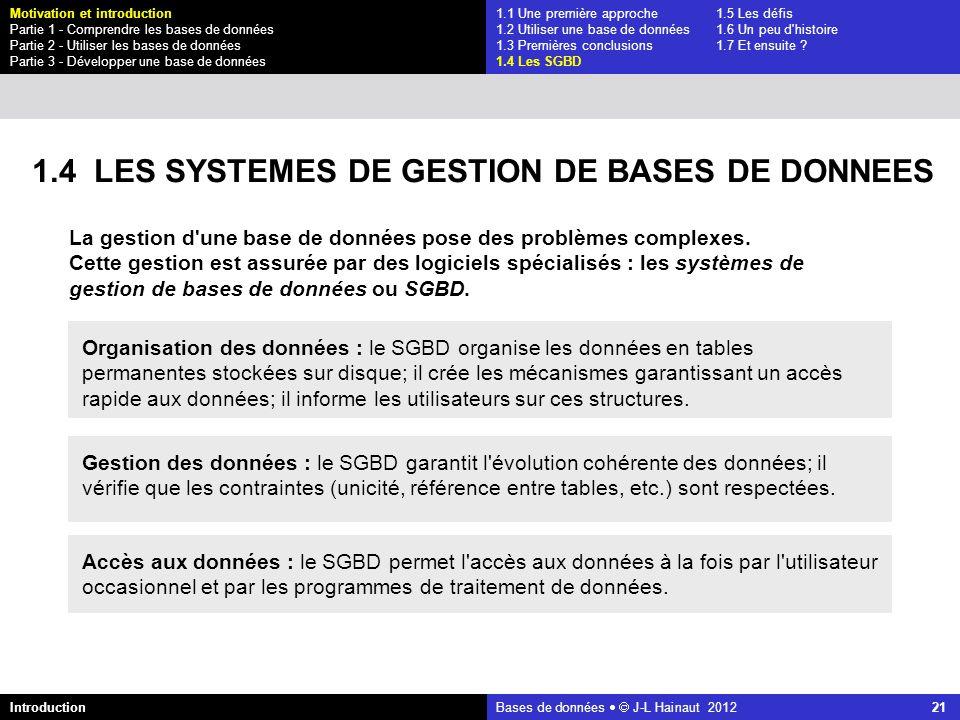 azerty Bases de données J-L Hainaut 2012 21 1.4 LES SYSTEMES DE GESTION DE BASES DE DONNEES 1.1 Une première approche1.5 Les défis 1.2 Utiliser une ba
