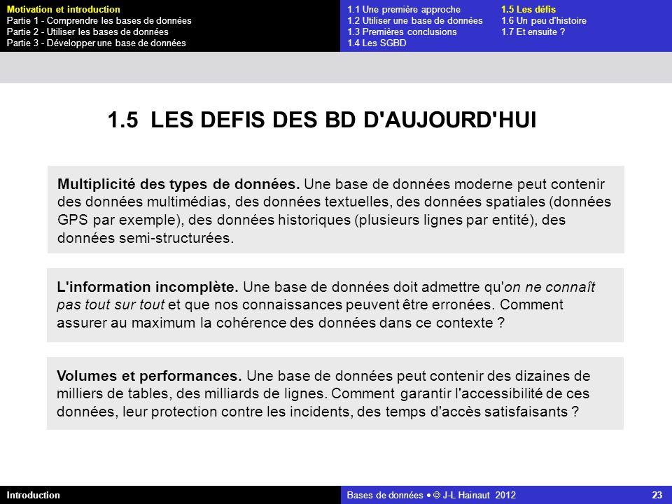 azerty Bases de données J-L Hainaut 2012 23 1.1 Une première approche1.5 Les défis 1.2 Utiliser une base de données1.6 Un peu d'histoire 1.3 Premières