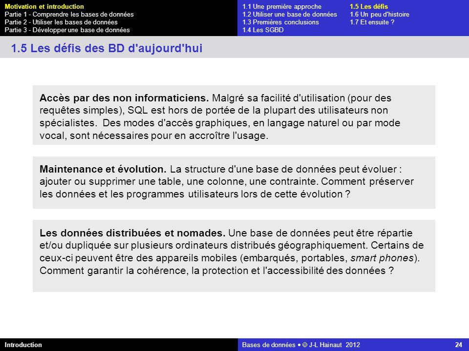 azerty Bases de données J-L Hainaut 2012 24 Accès par des non informaticiens. Malgré sa facilité d'utilisation (pour des requêtes simples), SQL est ho