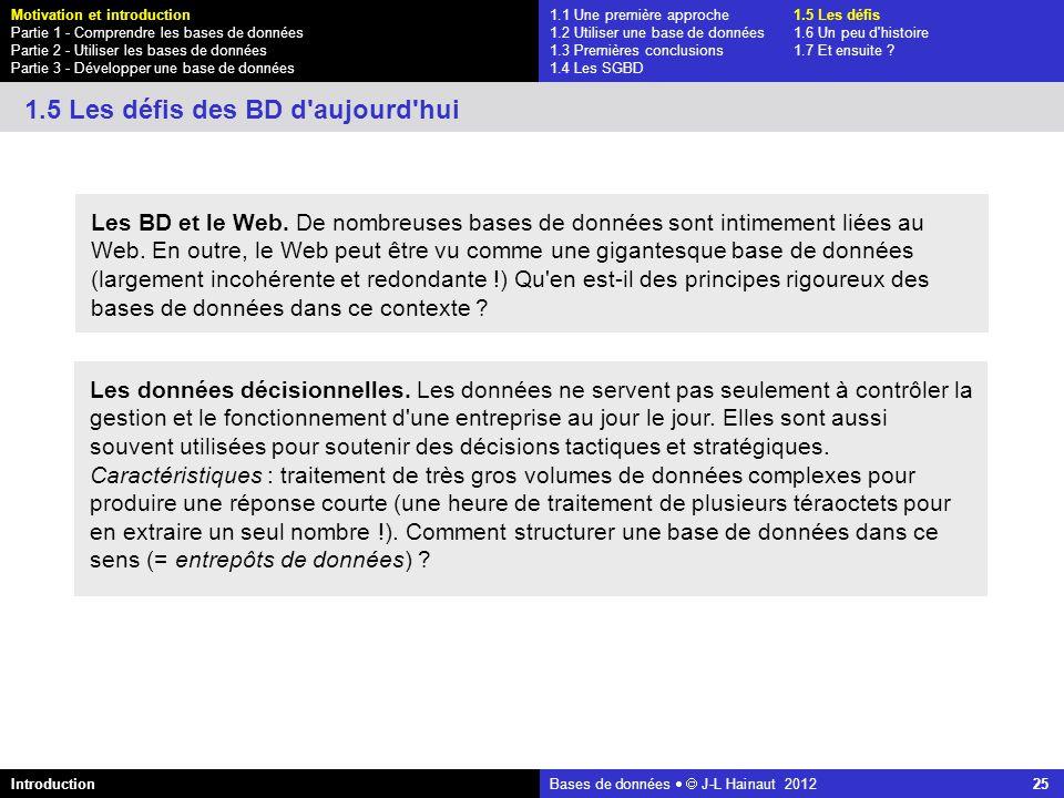 azerty Bases de données J-L Hainaut 2012 25 Les BD et le Web. De nombreuses bases de données sont intimement liées au Web. En outre, le Web peut être