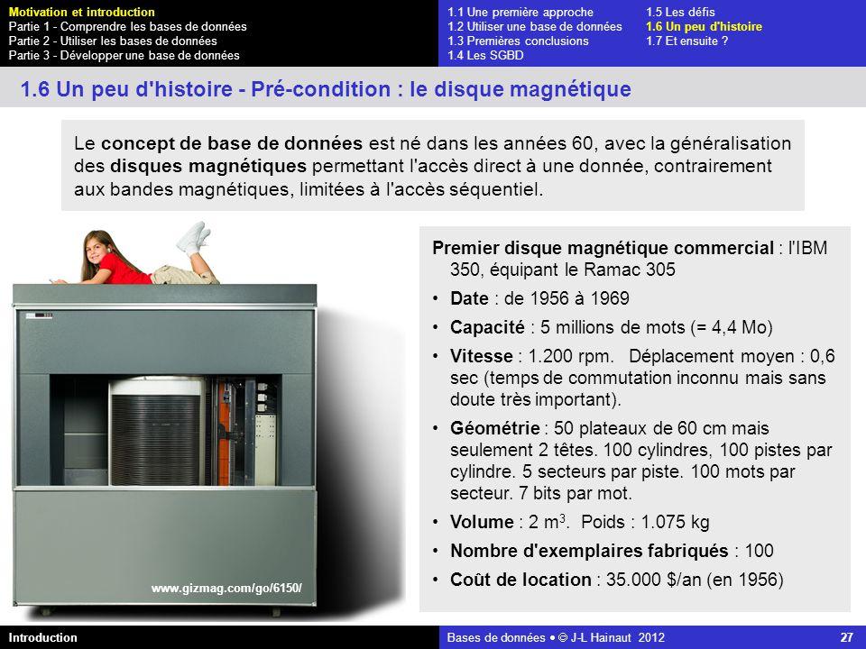 azerty Bases de données J-L Hainaut 2012 27 1.1 Une première approche1.5 Les défis 1.2 Utiliser une base de données1.6 Un peu d'histoire 1.3 Premières