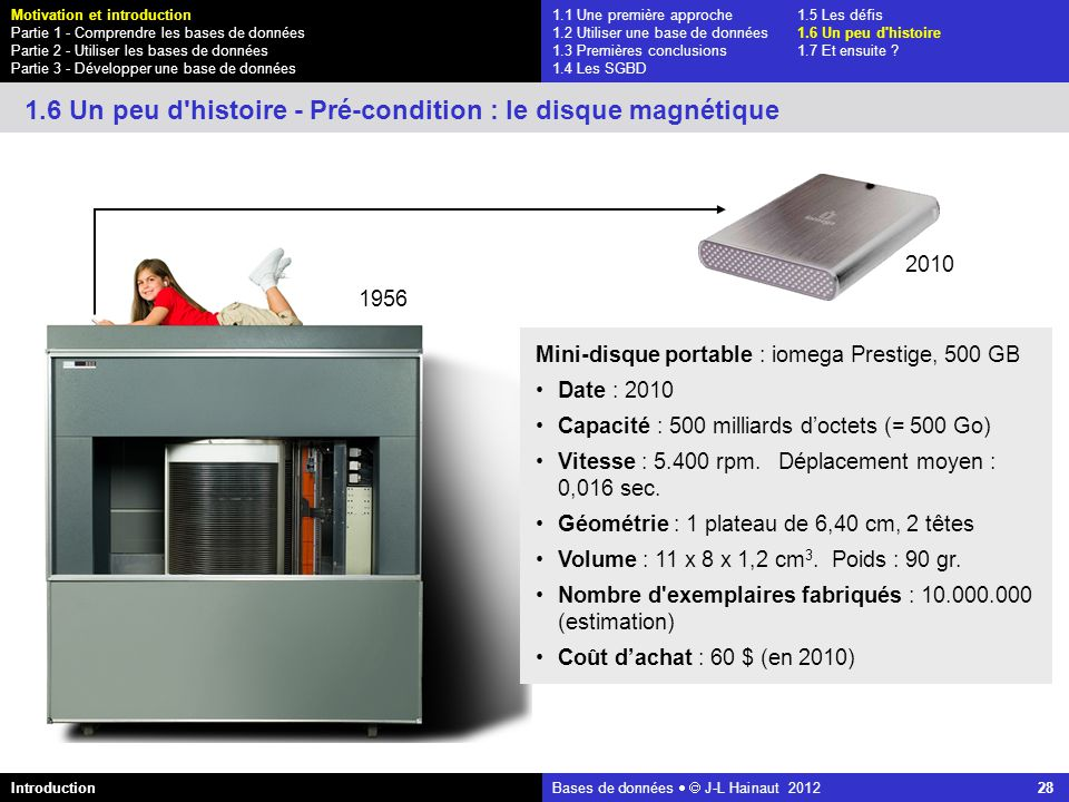 azerty Bases de données J-L Hainaut 2012 28 1.1 Une première approche1.5 Les défis 1.2 Utiliser une base de données1.6 Un peu d'histoire 1.3 Premières