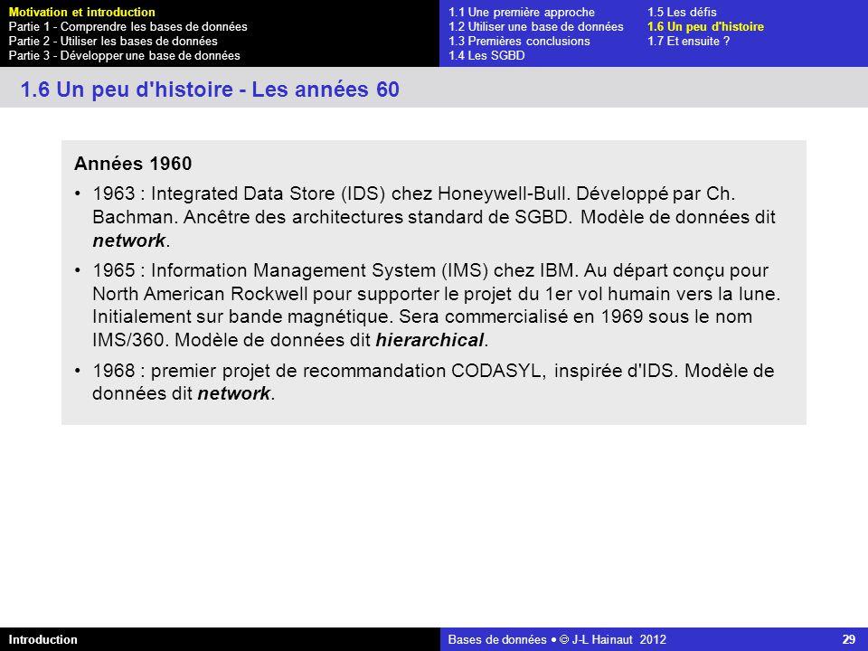 azerty Bases de données J-L Hainaut 2012 29 1.1 Une première approche1.5 Les défis 1.2 Utiliser une base de données1.6 Un peu d'histoire 1.3 Premières