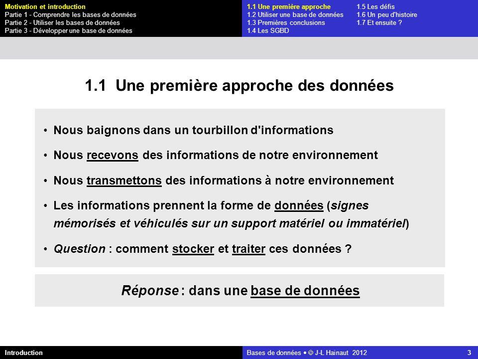 azerty Bases de données J-L Hainaut 2012 14 Ajoutons d autres données : notre première base de données 1.1 Une première approche des données 1.1 Une première approche1.5 Les défis 1.2 Utiliser une base de données1.6 Un peu d histoire 1.3 Premières conclusions1.7 Et ensuite .