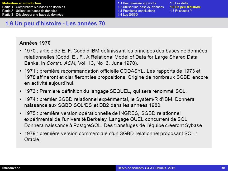 azerty Bases de données J-L Hainaut 2012 30 1.1 Une première approche1.5 Les défis 1.2 Utiliser une base de données1.6 Un peu d'histoire 1.3 Premières