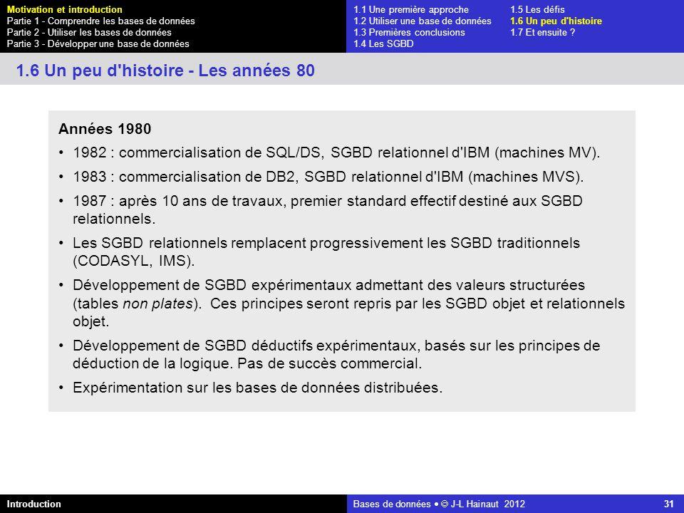 azerty Bases de données J-L Hainaut 2012 31 1.1 Une première approche1.5 Les défis 1.2 Utiliser une base de données1.6 Un peu d'histoire 1.3 Premières