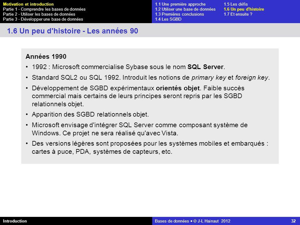azerty Bases de données J-L Hainaut 2012 32 1.1 Une première approche1.5 Les défis 1.2 Utiliser une base de données1.6 Un peu d'histoire 1.3 Premières