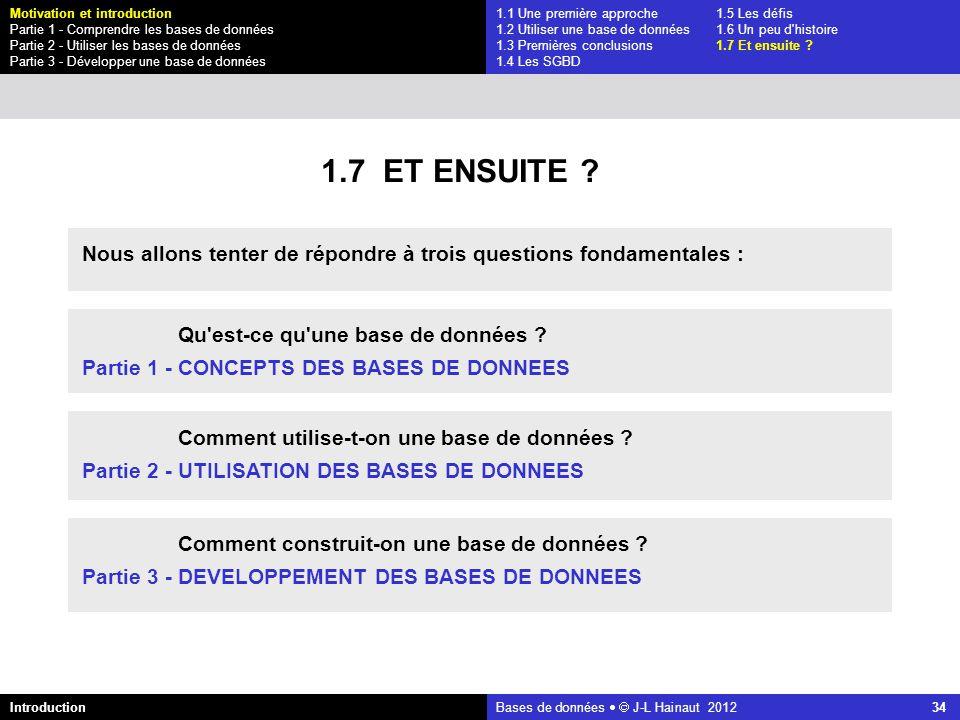 azerty Bases de données J-L Hainaut 2012 34 1.1 Une première approche1.5 Les défis 1.2 Utiliser une base de données1.6 Un peu d'histoire 1.3 Premières
