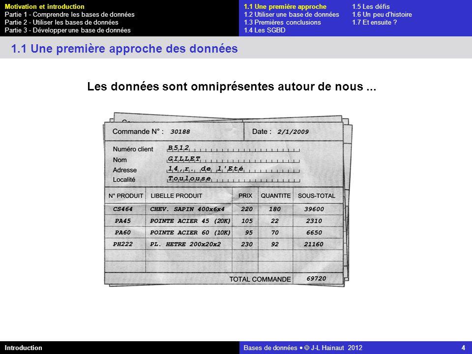 azerty Bases de données J-L Hainaut 2012 15 1.1 Une première approche1.5 Les défis 1.2 Utiliser une base de données1.6 Un peu d histoire 1.3 Premières conclusions1.7 Et ensuite .
