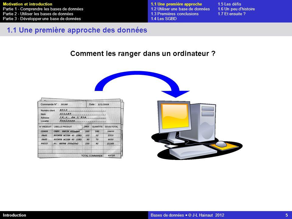 azerty Bases de données J-L Hainaut 2012 26 1.1 Une première approche1.5 Les défis 1.2 Utiliser une base de données1.6 Un peu d histoire 1.3 Premières conclusions1.7 Et ensuite .