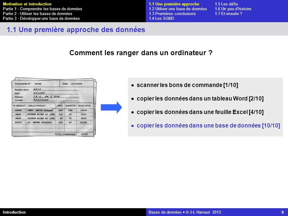 azerty Bases de données J-L Hainaut 2012 27 1.1 Une première approche1.5 Les défis 1.2 Utiliser une base de données1.6 Un peu d histoire 1.3 Premières conclusions1.7 Et ensuite .
