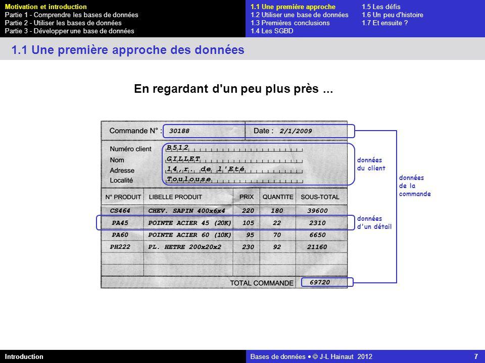 azerty Bases de données J-L Hainaut 2012 7 En regardant d'un peu plus près... données du client données d'un détail données de la commande 1.1 Une pre