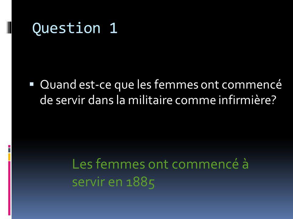 Question 2 a) Combien de femmes ont servis dans la PGM.