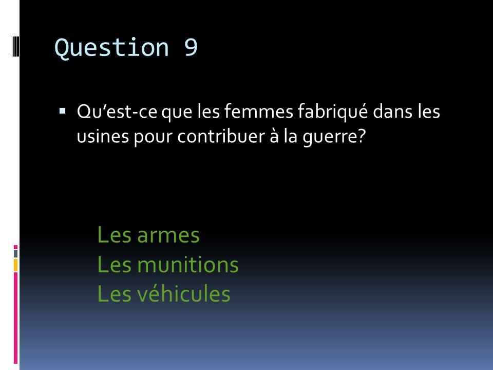 Question 10 Après la guerre, les femmes ont eu plus dégalité, ils sont maintenant reconnus comme quoi.