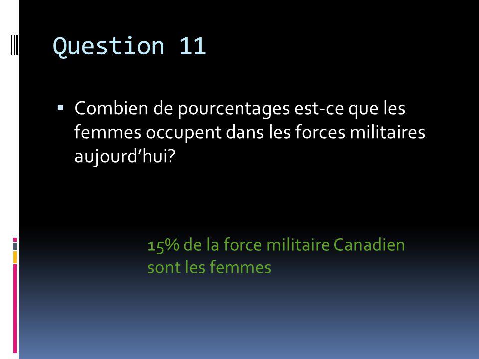 Question 11 Combien de pourcentages est-ce que les femmes occupent dans les forces militaires aujourdhui.