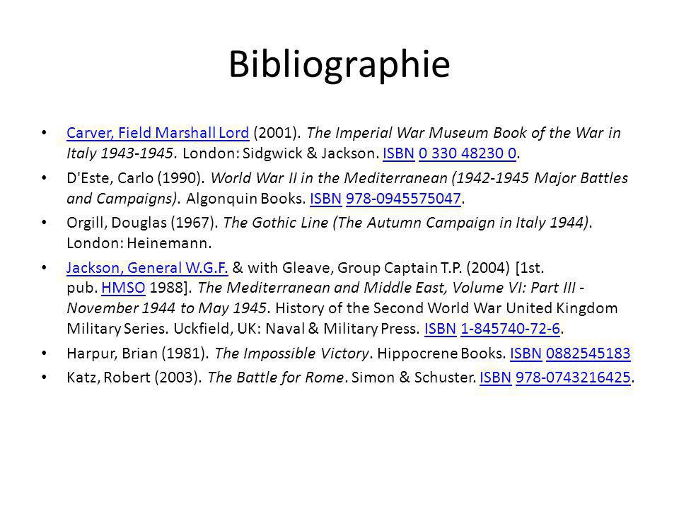 Bibliographie Carver, Field Marshall Lord (2001).