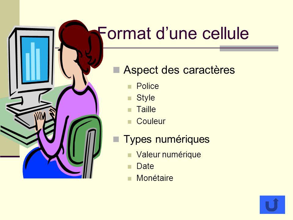 Format dune cellule Aspect des caractères Police Style Taille Couleur Types numériques Valeur numérique Date Monétaire