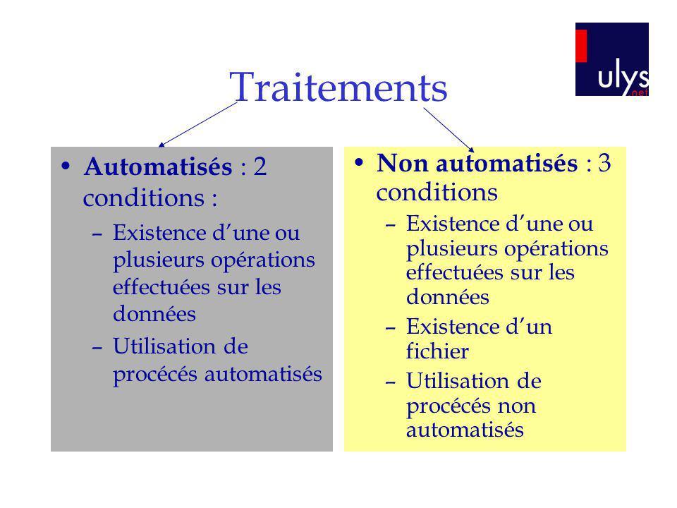 Traitements Automatisés : 2 conditions : –Existence dune ou plusieurs opérations effectuées sur les données –Utilisation de procécés automatisés Non a