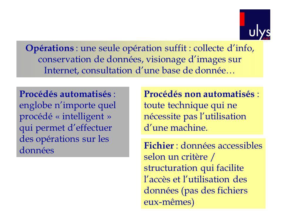 Opérations : une seule opération suffit : collecte dinfo, conservation de données, visionage dimages sur Internet, consultation dune base de donnée… P