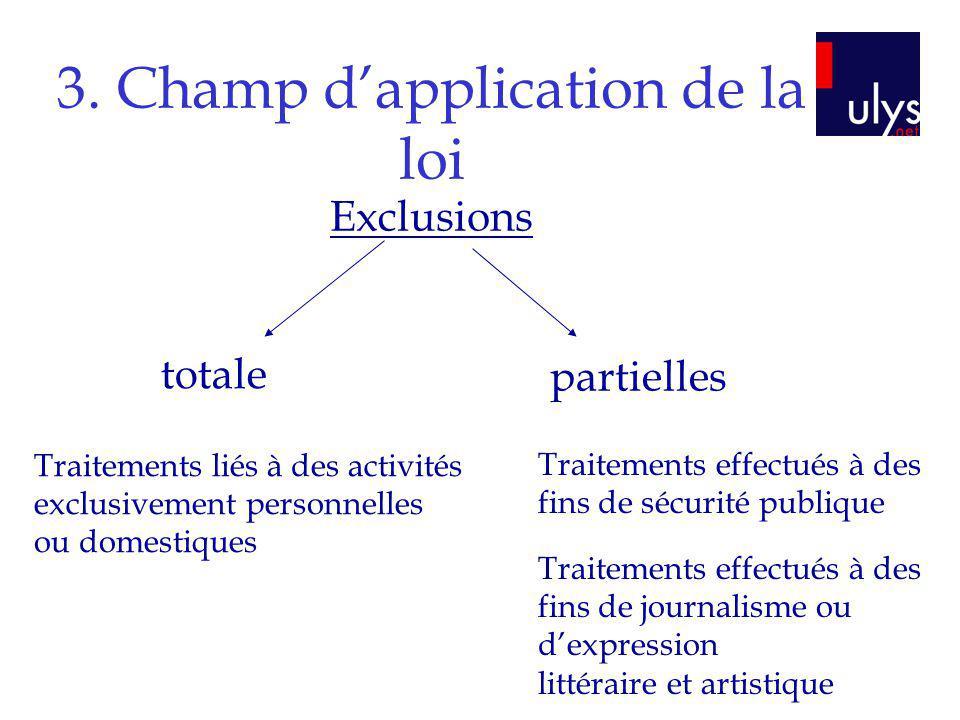 3. Champ dapplication de la loi Exclusions totale partielles Traitements liés à des activités exclusivement personnelles ou domestiques Traitements ef
