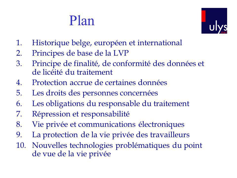 1.Historique belge, européen et international 2.Principes de base de la LVP 3.Principe de finalité, de conformité des données et de licéité du traitem