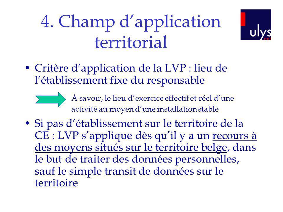 4. Champ dapplication territorial Critère dapplication de la LVP : lieu de létablissement fixe du responsable Si pas détablissement sur le territoire