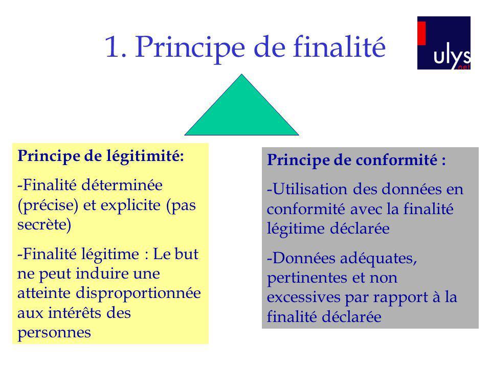 1. Principe de finalité Principe de légitimité: -Finalité déterminée (précise) et explicite (pas secrète) -Finalité légitime : Le but ne peut induire