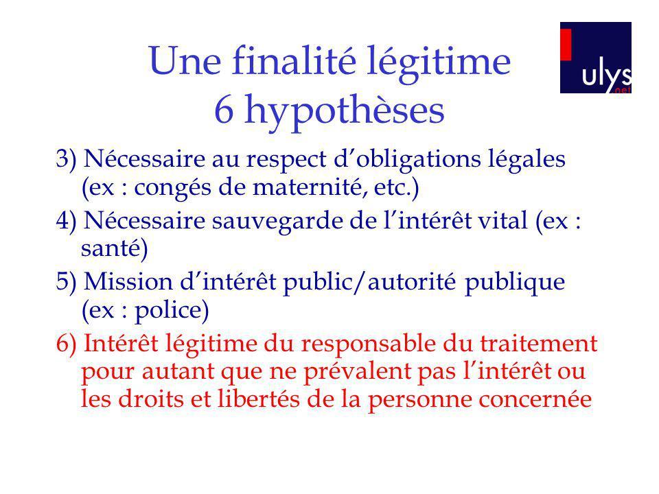 Une finalité légitime 6 hypothèses 3) Nécessaire au respect dobligations légales (ex : congés de maternité, etc.) 4) Nécessaire sauvegarde de lintérêt
