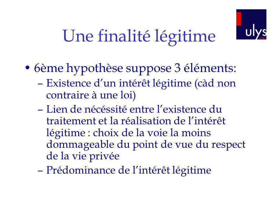 Une finalité légitime 6ème hypothèse suppose 3 éléments: –Existence dun intérêt légitime (càd non contraire à une loi) –Lien de nécéssité entre lexist