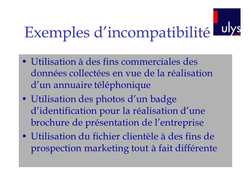 Exemples dincompatibilité Utilisation à des fins commerciales des données collectées en vue de la réalisation dun annuaire téléphonique Utilisation de