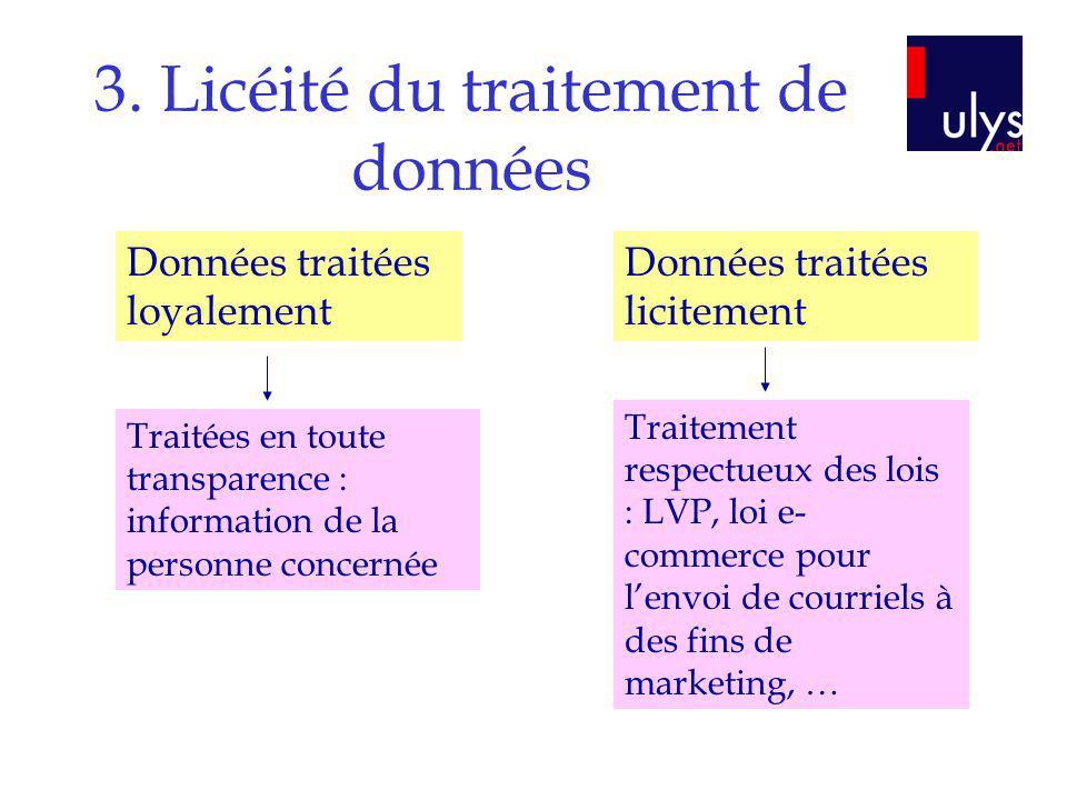 3. Licéité du traitement de données Données traitées loyalement Données traitées licitement Traitées en toute transparence : information de la personn