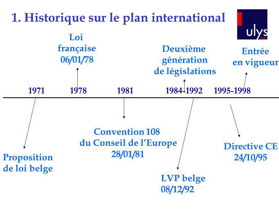 1. Historique sur le plan international 1971 1978 1981 1984-1992 1995-1998 Proposition de loi belge Loi française 06/01/78 Convention 108 du Conseil d