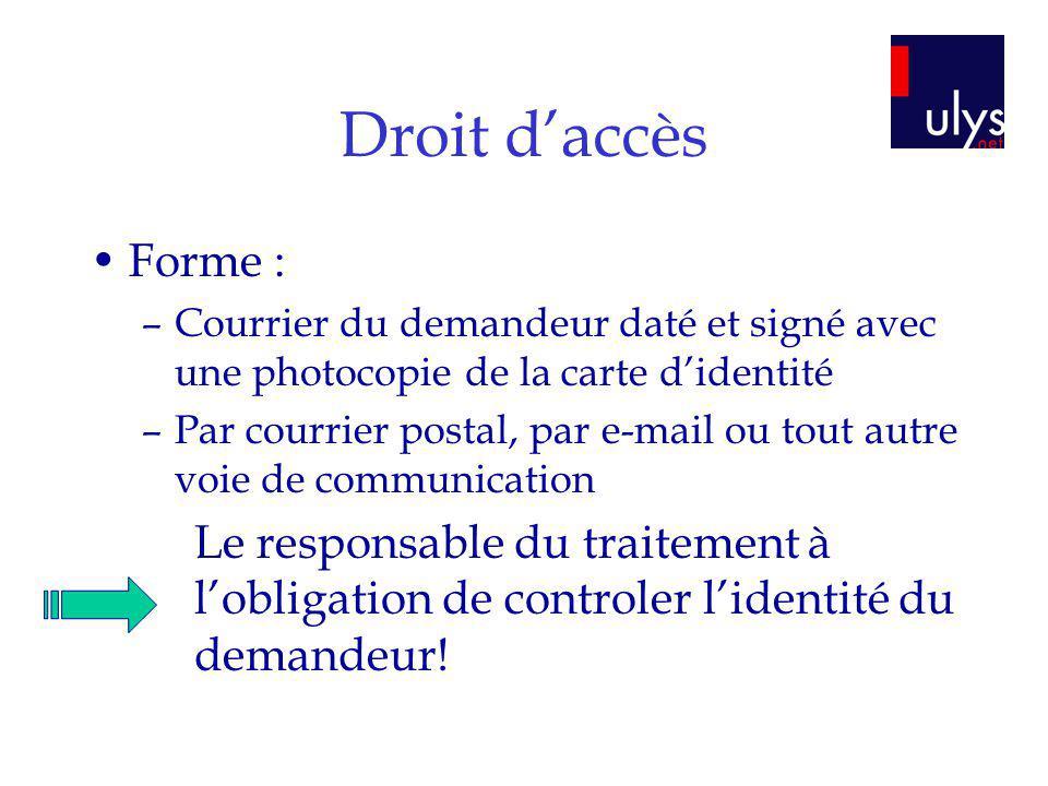 Droit daccès Forme : –Courrier du demandeur daté et signé avec une photocopie de la carte didentité –Par courrier postal, par e-mail ou tout autre voi