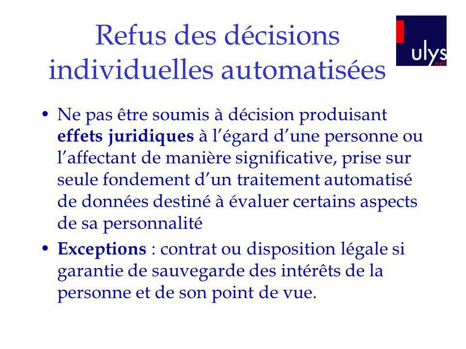 Refus des décisions individuelles automatisées Ne pas être soumis à décision produisant effets juridiques à légard dune personne ou laffectant de mani