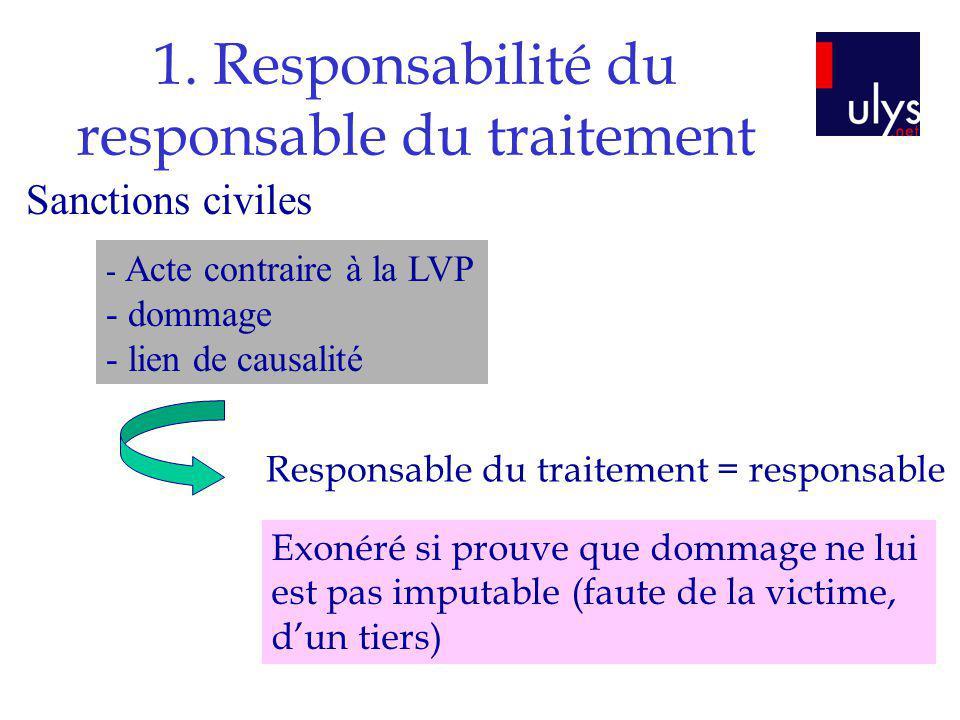 1. Responsabilité du responsable du traitement - Acte contraire à la LVP - dommage - lien de causalité Responsable du traitement = responsable Exonéré
