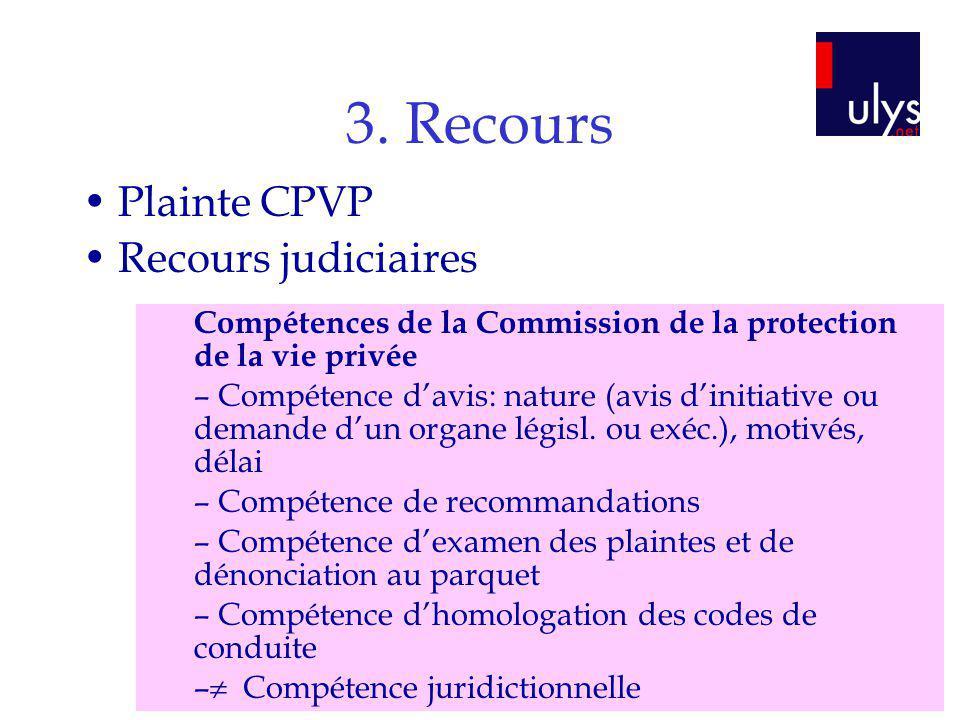 3. Recours Plainte CPVP Recours judiciaires Compétences de la Commission de la protection de la vie privée – Compétence davis: nature (avis dinitiativ