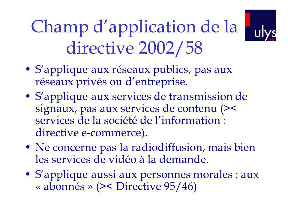 Champ dapplication de la directive 2002/58 Sapplique aux réseaux publics, pas aux réseaux privés ou dentreprise. Sapplique aux services de transmissio