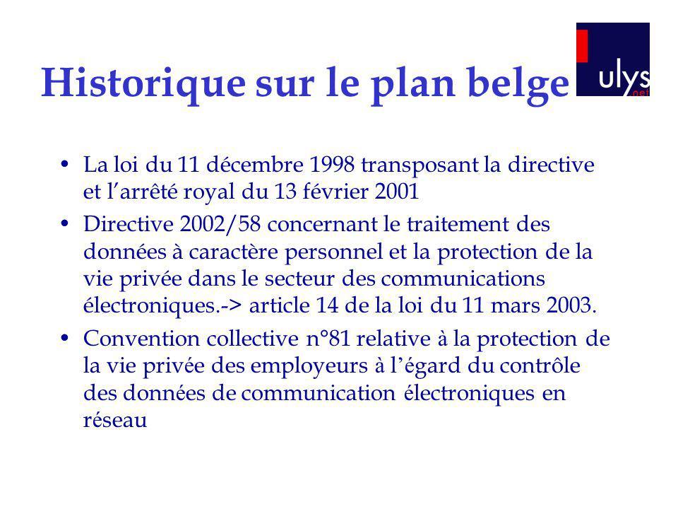 Historique sur le plan belge La loi du 11 décembre 1998 transposant la directive et larrêté royal du 13 février 2001 Directive 2002/58 concernant le t