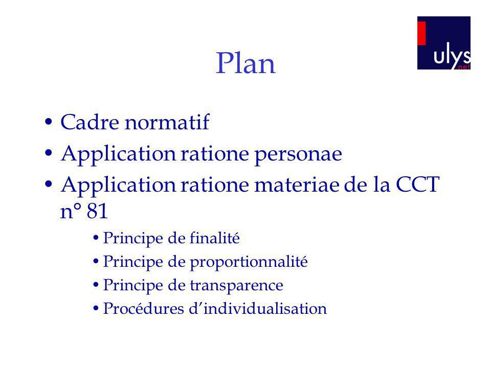 Plan Cadre normatif Application ratione personae Application ratione materiae de la CCT n° 81 Principe de finalité Principe de proportionnalité Princi