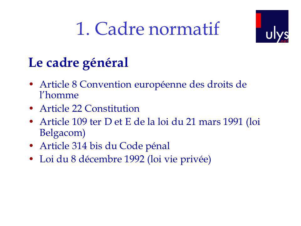 1. Cadre normatif Le cadre général Article 8 Convention européenne des droits de lhomme Article 22 Constitution Article 109 ter D et E de la loi du 21