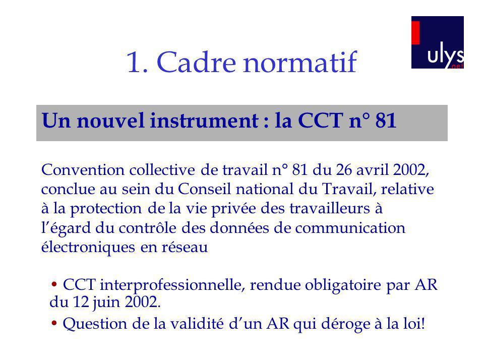 1. Cadre normatif Un nouvel instrument : la CCT n° 81 Convention collective de travail n° 81 du 26 avril 2002, conclue au sein du Conseil national du