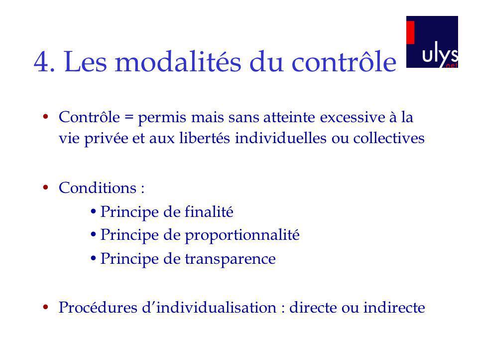4. Les modalités du contrôle Contrôle = permis mais sans atteinte excessive à la vie privée et aux libertés individuelles ou collectives Conditions :