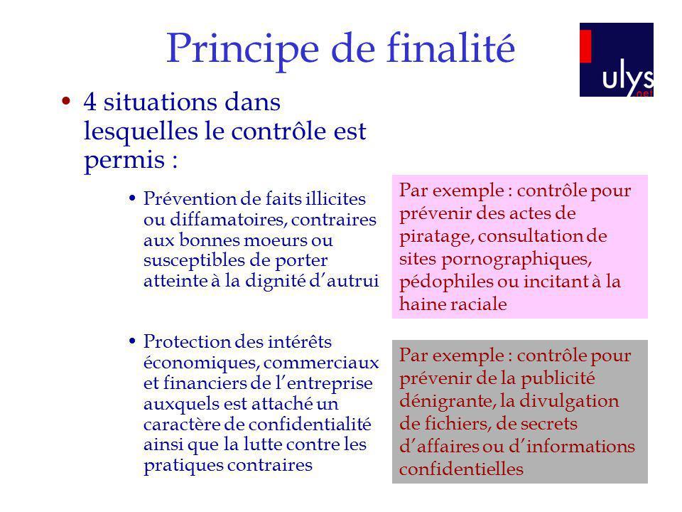 Principe de finalité 4 situations dans lesquelles le contrôle est permis : Prévention de faits illicites ou diffamatoires, contraires aux bonnes moeur