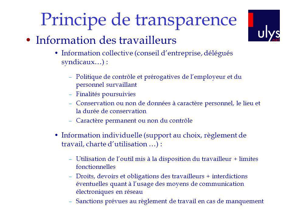Principe de transparence Information des travailleurs Information collective (conseil dentreprise, délégués syndicaux…) : –Politique de contrôle et pr